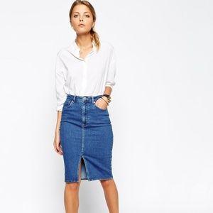 ASOS Denim Split Front Midi Pencil Skirt